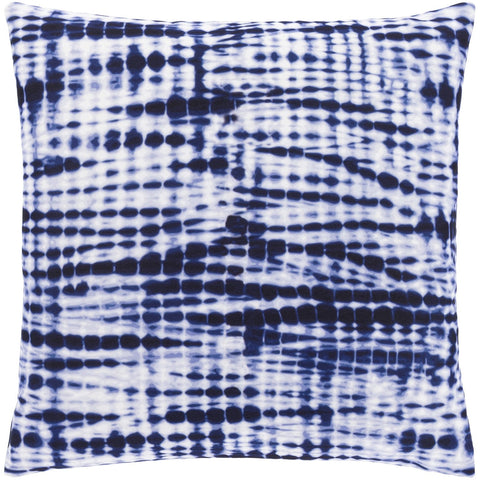 Azora AZO-005 Woven Square Pillow in Dark Blue & White by Surya