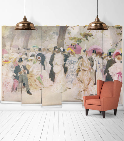A Jovial Afternoon Wall Mural from the Erstwhile Collection by Milton & King - BURKE DECOR