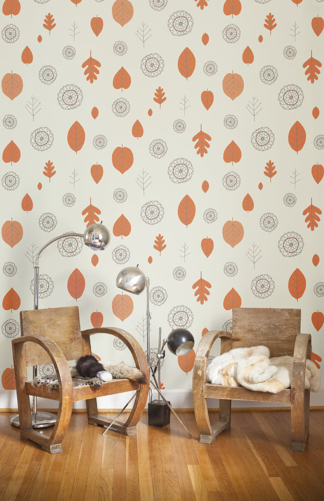Sample A View of the Woods Wallpaper in Coquelicot, Mink, and Cream design by Juju
