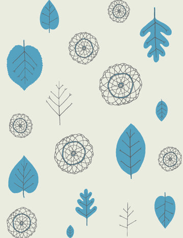 Sample A View of the Woods Wallpaper in Delft Blue, Mink, and Cream design by Juju