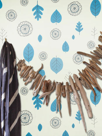 A View of the Woods Wallpaper in Delft Blue, Mink, and Cream design by Juju - BURKE DECOR