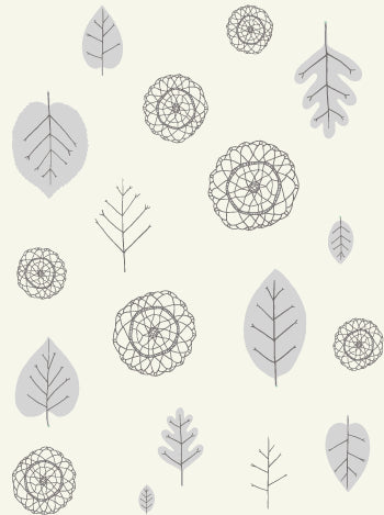 Sample A View of the Woods Wallpaper in Grey, Mink, and Cream design by Juju