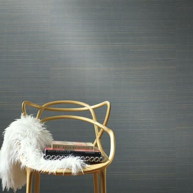 Abaca Weave Wallpaper in Blue by Antonina Vella for York Wallcoverings