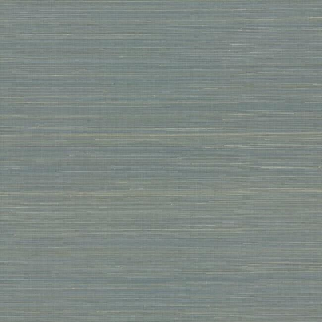 Sample Abaca Weave Wallpaper in Blue by Antonina Vella for York Wallcoverings