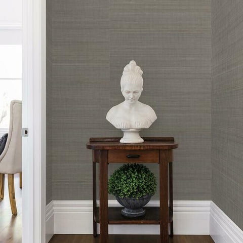 Abaca Weave Wallpaper in Charcoal by Antonina Vella for York Wallcoverings