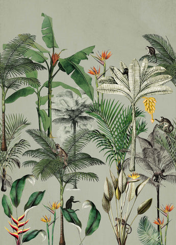 Above the Tropics Wall Mural in Green by Walls Republic