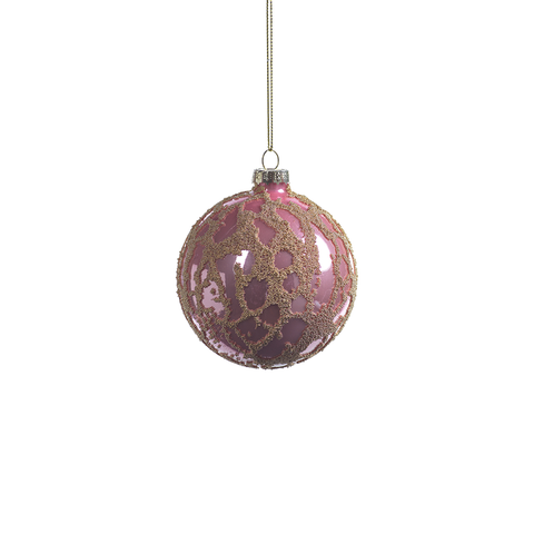 Abstract Beaded Hanging Pink Ball Ornament