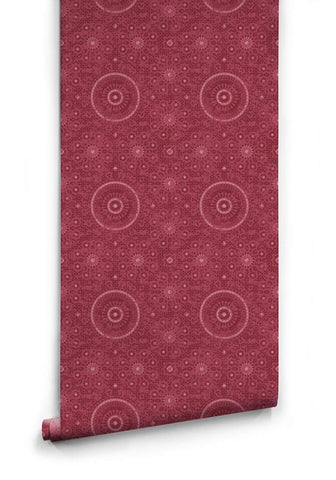 Sample Abu Dhabi Wallpaper in Crimson from the Kingdom Home Collection by Milton & King