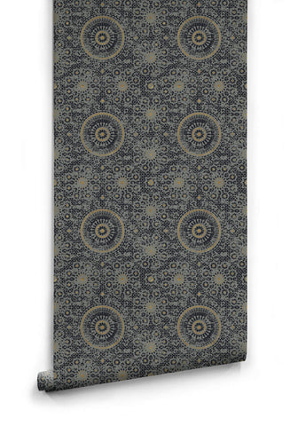 Sample Abu Dhabi Wallpaper in Night from the Kingdom Home Collection by Milton & King