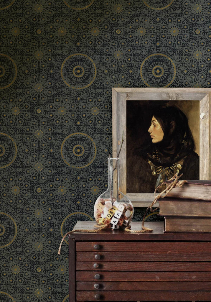 Abu Dhabi Wallpaper in Night from the Kingdom Home Collection by Milton & King