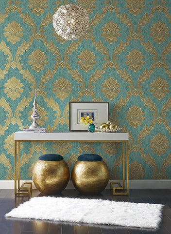 Acanthus Fan Wallpaper in Gold, Turquoise, and Brown by Antonina Vella for York Wallcoverings