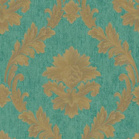 Sample Acanthus Fan Wallpaper in Gold, Turquoise, and Brown by Antonina Vella for York Wallcoverings