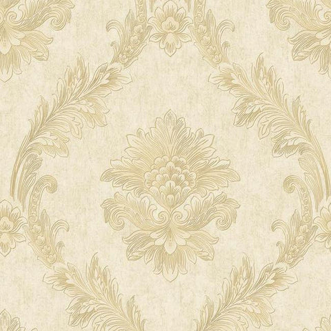 Sample Acanthus Fan Wallpaper in Gold and Pearlescent Ivory by Antonina Vella for York Wallcoverings