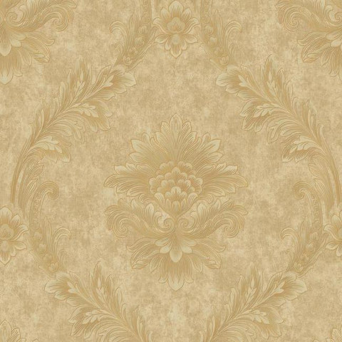Sample Acanthus Fan Wallpaper in Gold and Pearlescent Neutrals by Antonina Vella for York Wallcoverings