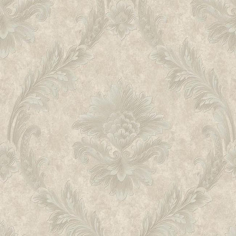 Acanthus Fan Wallpaper in Silver and Pearlescent Grey by Antonina Vella for York Wallcoverings