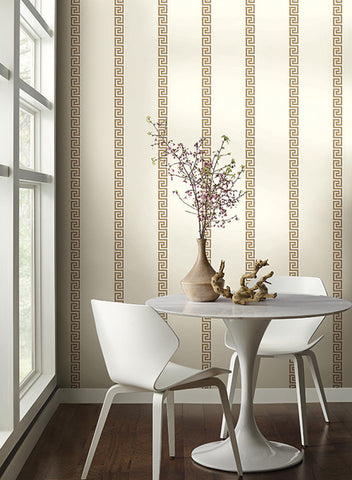 Acropolis Stripe Wallpaper in Gold and White by Ashford House for York Wallcoverings