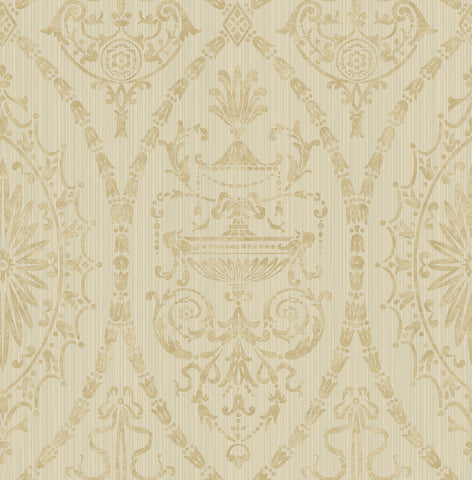 Adams Wallpaper in Gold and Sand from the Watercolor Florals Collection by Mayflower Wallpaper