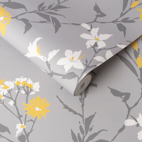 Aeris Wallpaper in Grey and Yellow from the Exclusives Collection by Graham & Brown