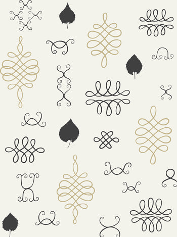 After Chinterwink Wallpaper in Cream, Gold, and Charcoal design by Juju - BURKE DECOR