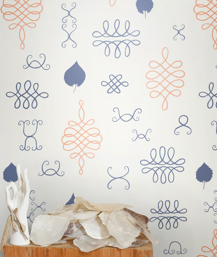 After Chinterwink Wallpaper in Han Purple and Gloaming Neon Orange design by Juju - BURKE DECOR
