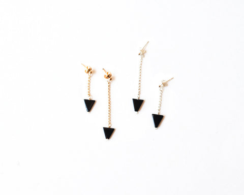 Cyndi Onyx Triangle Studs design by Agapantha