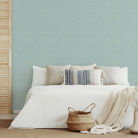 Agave Imitation Grasscloth Wallpaper in Aqua from the Pacifica Collection by Brewster Home Fashions