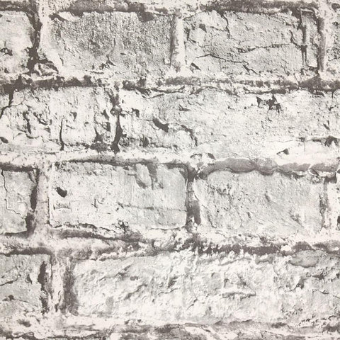 Aged Brick Effect Wallpaper in Grey from the Precious Elements Collection by Burke Decor