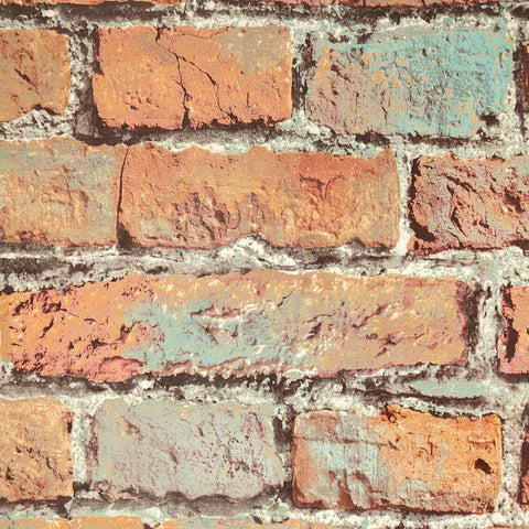 Aged Brick Effect Wallpaper in Multi from the Precious Elements Collection by Burke Decor