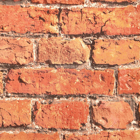Sample Aged Brick Effect Wallpaper in Red from the Precious Elements Collection by Burke Decor