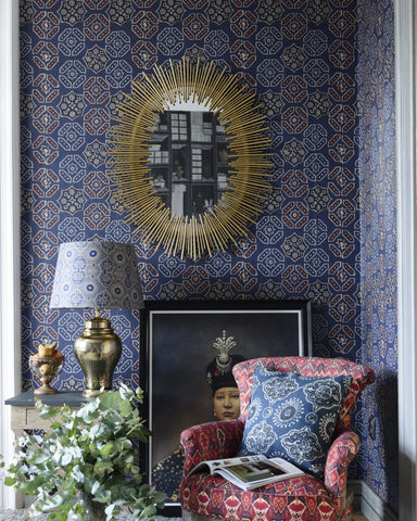 Ajrak Blue Wallpaper from the Wallpaper Compendium Collection by Mind the Gap