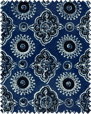 Ajrak Linen Fabric in Blue by Mind the Gap