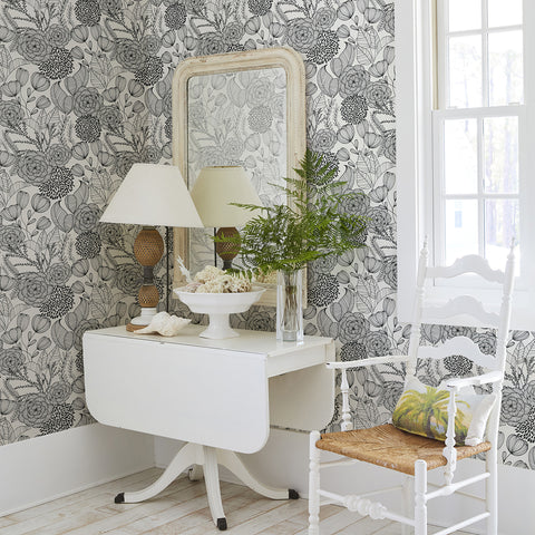 Alannah Botanical Wallpaper in Black from the Bluebell Collection by Brewster Home Fashions