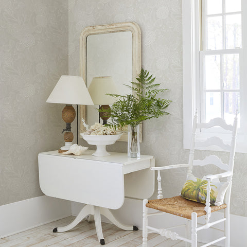 Alannah Botanical Wallpaper in Bone from the Bluebell Collection by Brewster Home Fashions
