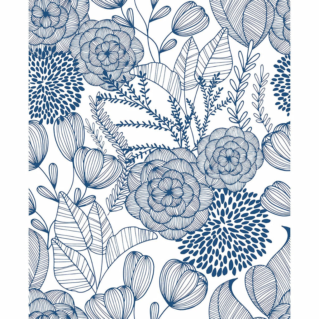Alannah Botanical Wallpaper in Navy from the Bluebell Collection by Brewster Home Fashions