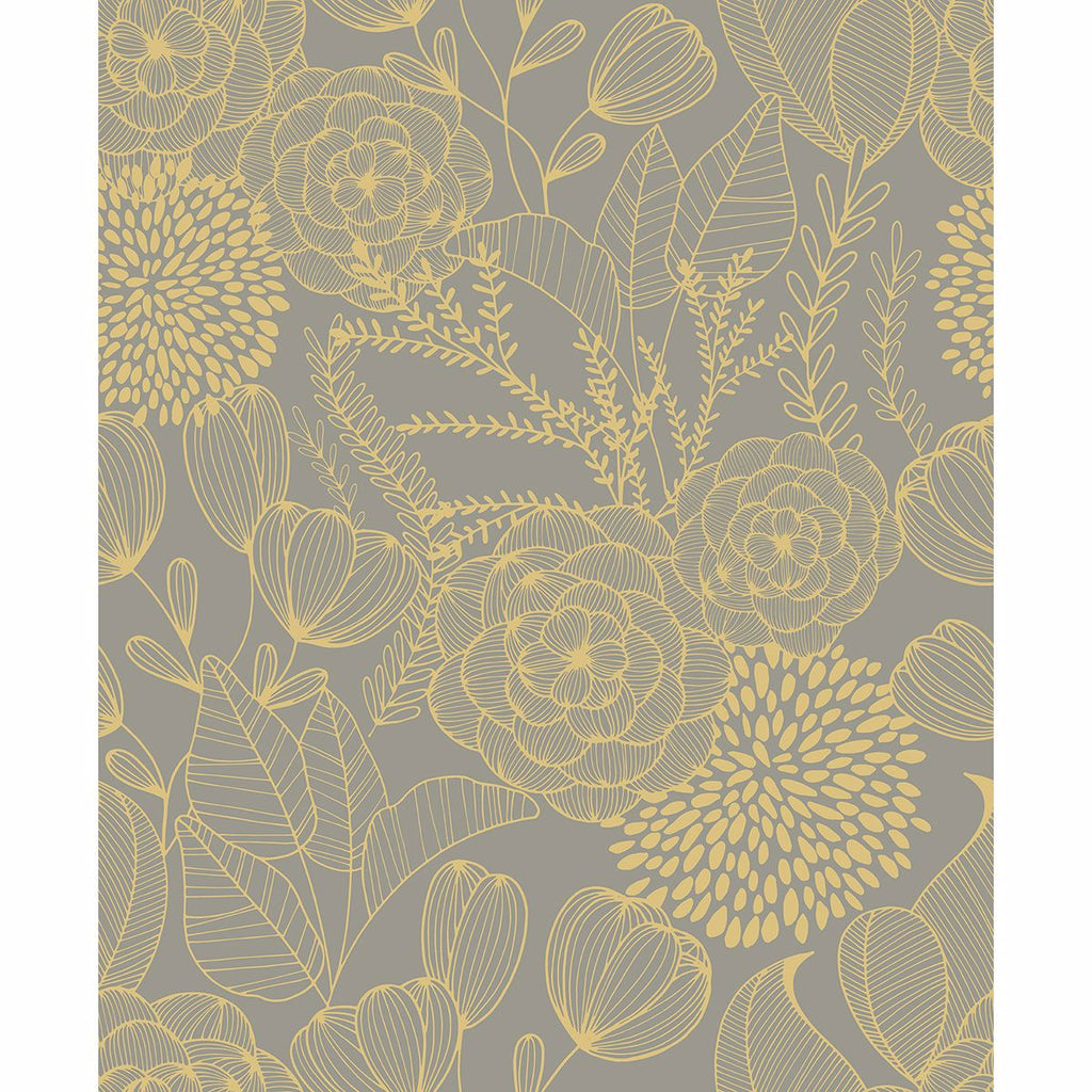 Sample Alannah Botanical Wallpaper in Taupe from the Bluebell Collection by Brewster Home Fashions