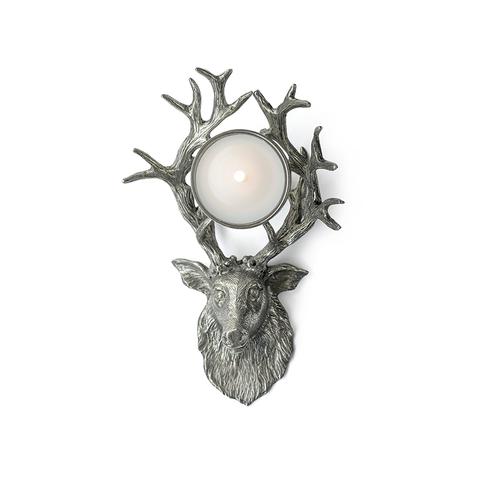 Alberg Stag Head Pewter Tealight Holder