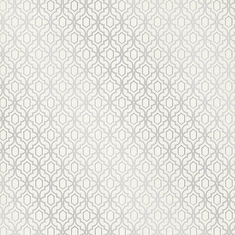 Alcazaba Silver Trellis Wallpaper from the Alhambra Collection by Brewster Home Fashions