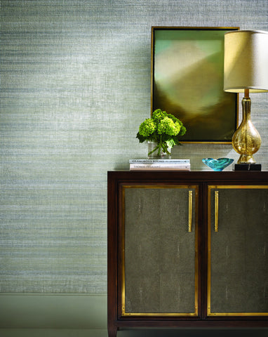 Alchemy Grasscloth Wallpaper in White and Silver from the Breathless Collection by Candice Olson for York Wallcoverings