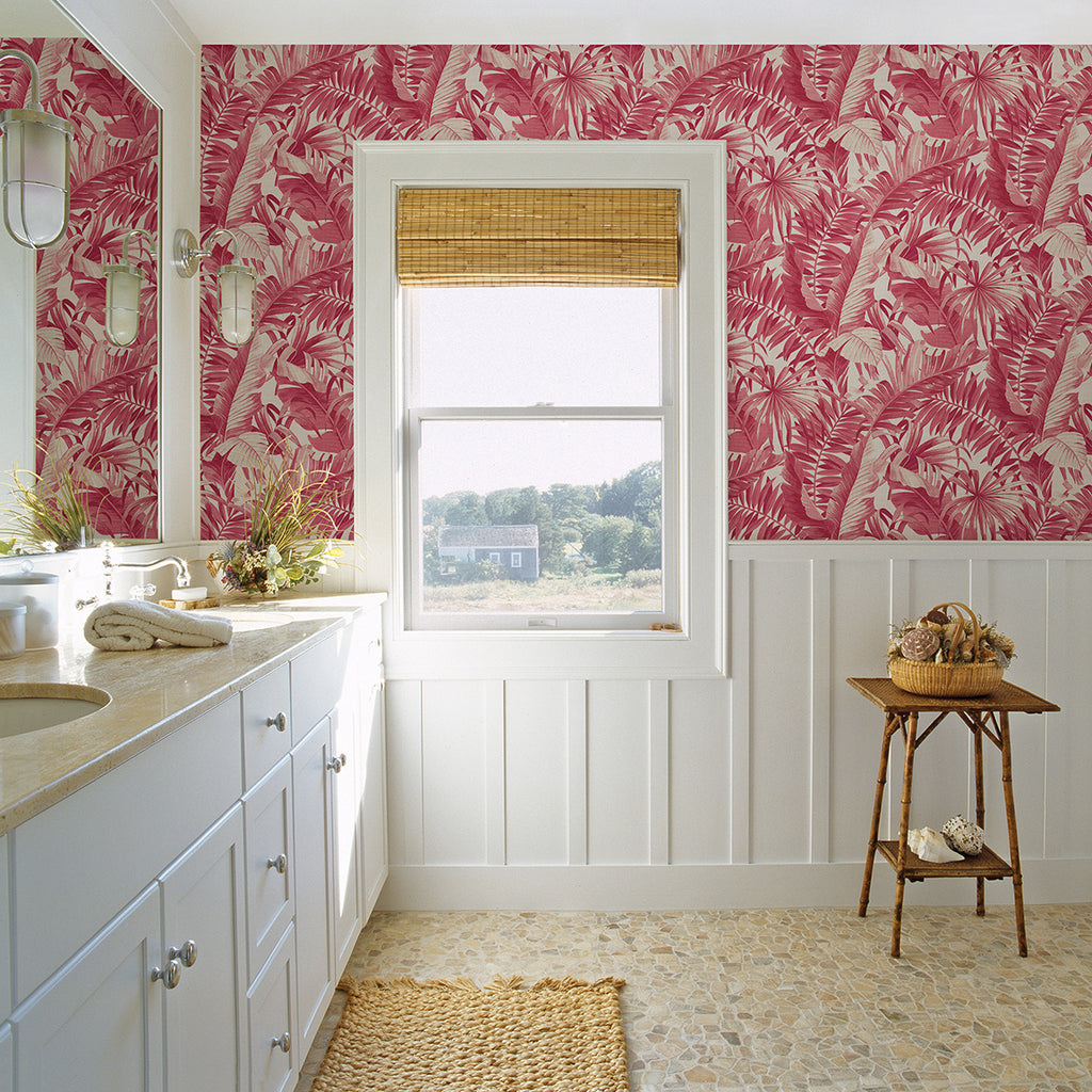 Alfresco Tropical Palm Wallpaper in Pink from the Pacifica Collection by Brewster Home Fashions