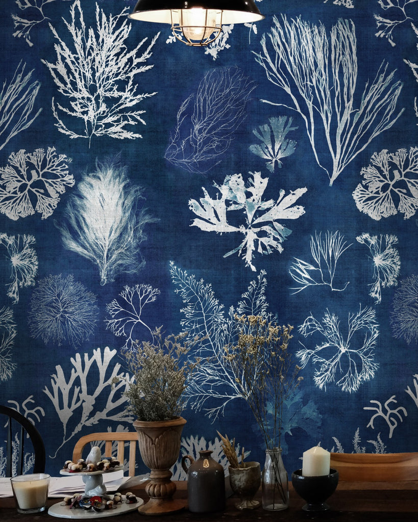 Algae Wallpaper in Navy Blue from the Atoll Collection by Mind the Gap