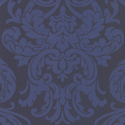Alimos Navy Damask Wallpaper from the Savor Collection by Brewster Home Fashions