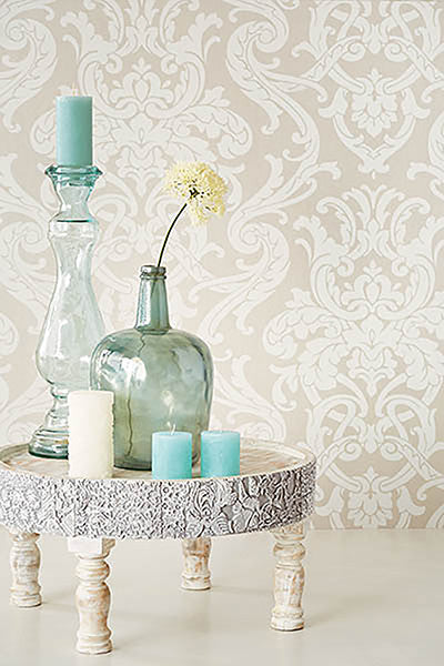 Alimos Taupe Damask Wallpaper from the Savor Collection by Brewster Home Fashions