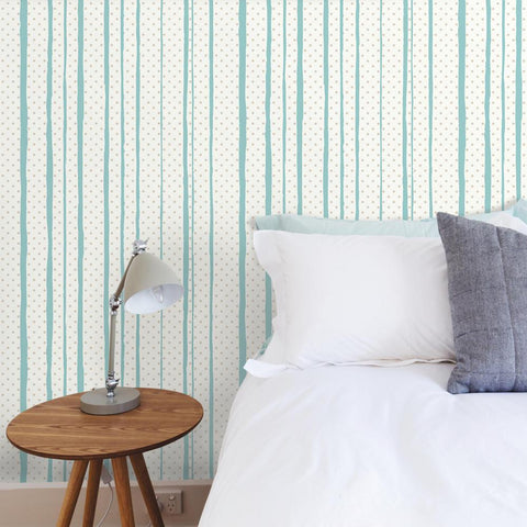 All Mixed Up Peel & Stick Wallpaper in Silver and Teal by RoomMates for York Wallcoverings