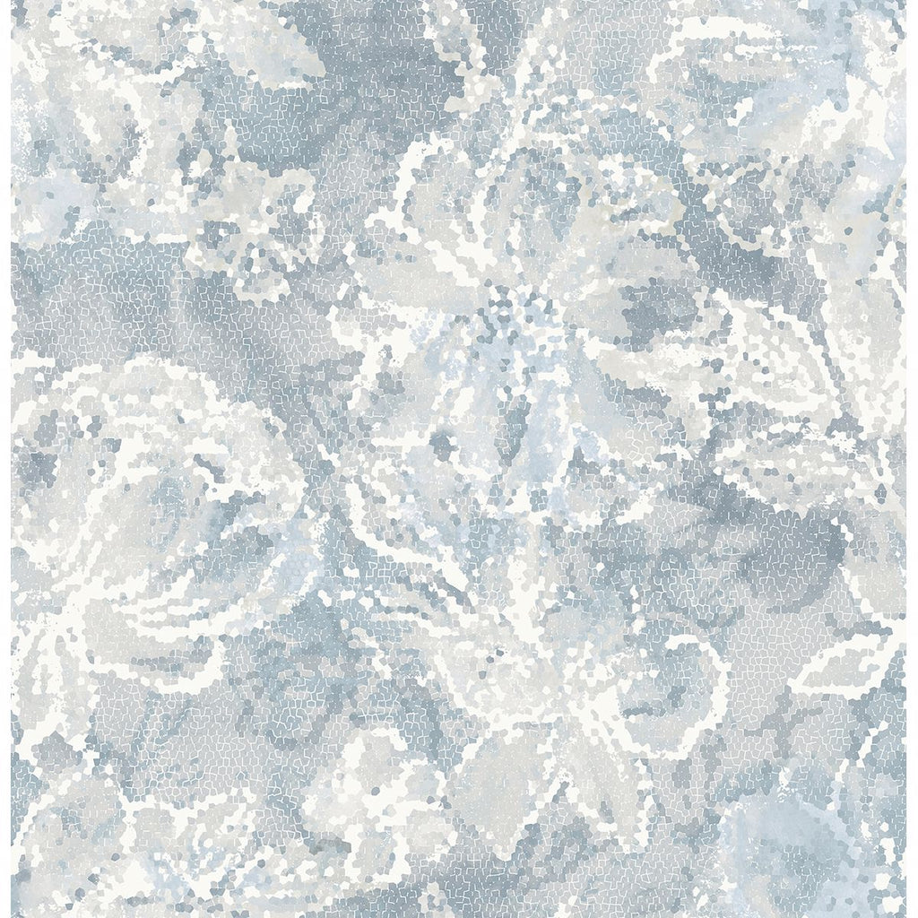 Allure Floral Wallpaper in Blue from the Celadon Collection by Brewster Home Fashions