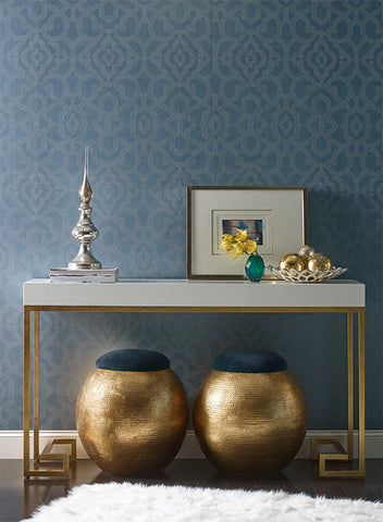 Allure Wallpaper in Dark Blue design by Candice Olson for York Wallcoverings
