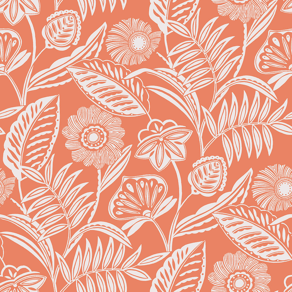 Sample Alma Tropical Floral Wallpaper in Coral from the Pacifica Collection by Brewster Home Fashions