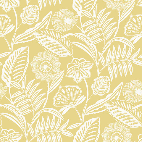 Alma Tropical Floral Wallpaper in Yellow from the Pacifica Collection by Brewster Home Fashions