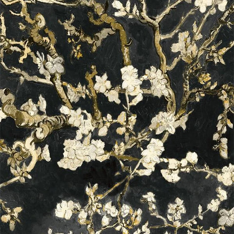 Sample Almond Blossom Bold Dark Floral Black Wallpaper by Walls Republic