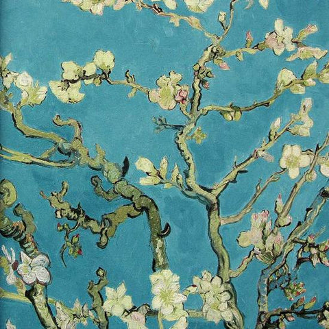 Almond Blossom Wallpaper in Turquoise from the Van Gogh Collection by Burke Decor