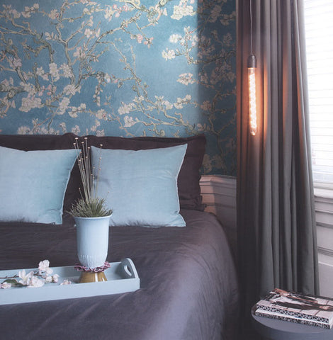 ... Almond Blossom Wallpaper In Turquoise From The Van Gogh Collection By  Burke Decor